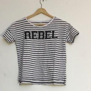 """Old Navy black and white """"Rebel"""" t-shirt size 8"""